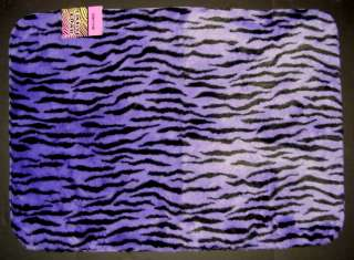 New PURPLE/BLACK ZEBRA Faux Fur RUG NON SLIP Jungle Friends 22x36 OR