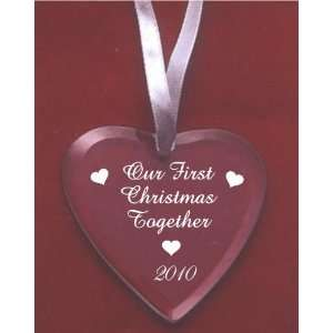Our First Christmas Heart Glass Ornament   2010