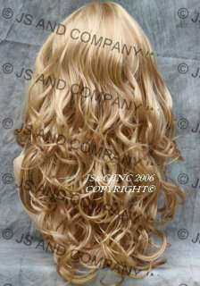 Bouncy Long Wavy Curly Golden PALE BLONDE WIG with full bangs JSCA 24