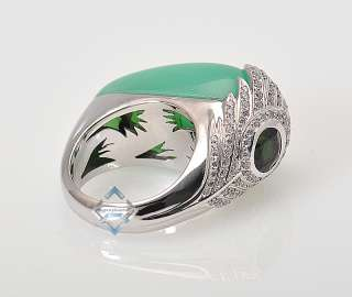 Carrera y Carrera Gold Diamond Green Peacock Ring