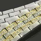 Mens 7 10 Two Tone Yellow/White Gold Plated Iced Out CZ Hip Hop Bling