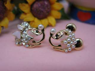 Unique Very Lovely Mickey Minnie Mouse rhinestones & Pearl stud