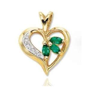 14k Yellow Gold Marquise Emerald Diamond Heart Pendant Jewelry
