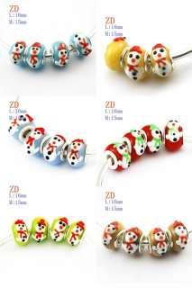 Lots 24pcs Cute Snowman Murano Lampwork Glass Loose Beads Fit Bracelet