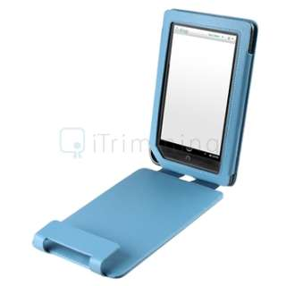 For B&N Nook Color Blue Flip Folio Leather Carrying Case Cover Pouch
