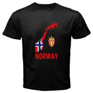Norway Norwegian Flag Map Emblem Black T shirt