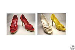 toe platform pumps 4.5 inch high heel womens shoes knotted faux silk