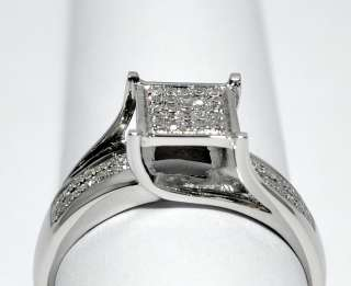 ENGAGEMENT RING PROMISE RING 10K WHITE GOLD 0.16CT SQUARE PRINCESS