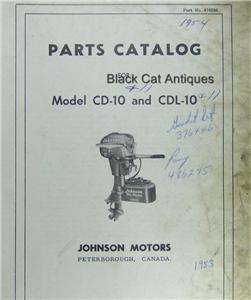Vintage Johnson Motors Parts Catalog Models CD 10 & CDL 10 Outboard