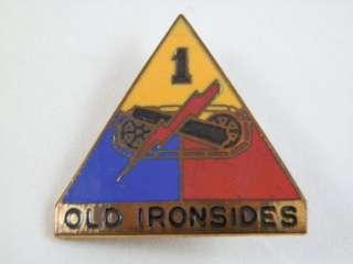 Armored Division Old Ironsides Vietnam Era Pin Original 1 1/4