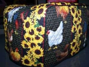 Roosters Quilted Fabric Cover for 2 Slice Toaster NEW