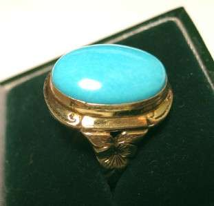 ANTIQUE CARVED 10K GOLD 14c SLEEPING BEAUTY TURQUOISE VICTORIAN RING