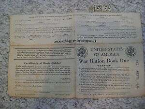 United States of America War Ration Book One with 2 tickets world war