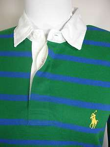 New Polo Ralph Lauren Womens Rugby Polo Shirt Green Blue Yellow Pony