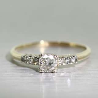 Gorgeous Vintage Estate Ladies 14K Yellow Gold Round Diamond