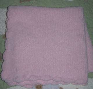 Baby Soft Collection Pink Chenille Knit Blanket EUC