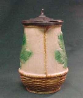 Antique Majolica Chestnut Leaf Pewter Top Syrup Pitcher