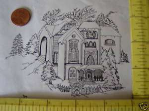 Winter scene, unmounted rubber stamp house & pine trees