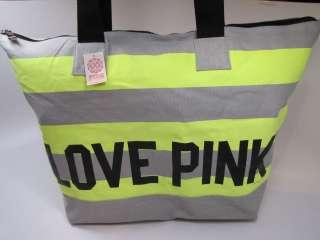NWT VICTORIAS SECRET LOVE PINK ZIP TOP TOTE BAG YELLOW/GRAY STRIPES