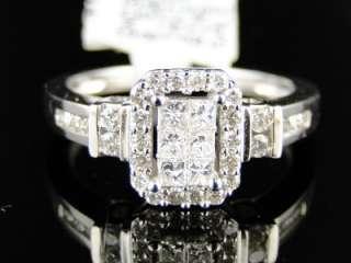 14K LADIES WOMENS WHITE GOLD PRINCESS CUT DIAMOND ENGAGEMENT WEDDING