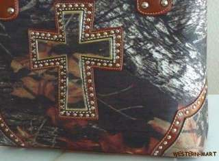NEW WESTERN BROWN CAMO MOSSY OAK STUDDED CROSS TOTE SHOPPER COWGIRL