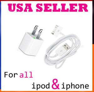 White USB Wall Charger + Data Cable Cord for Iphone 4S 4G 3GS Ipod