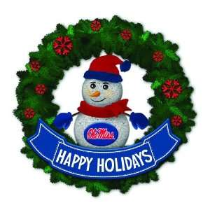15 NCAA Ole Miss Rebels Lighted Snowman Artificial Christmas Wreath
