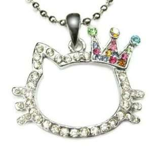 Kitty Multi Color Crystal Charm Crown Necklace