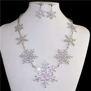 Bridal 7 Snowflake Necklace Earring Swarovski Crystal Clear AB Flower