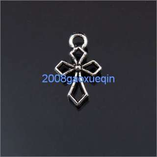Tibetan silver crafted cross frame charm pendants 10.5x17mm A195