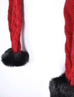 EGX04 Winter Warm Girl Cute Knit Rabbit Fur Hand Wrist Warmer