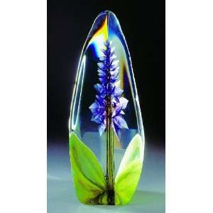 Large Orchid Purple Flower Etched Crystal Sculpture by