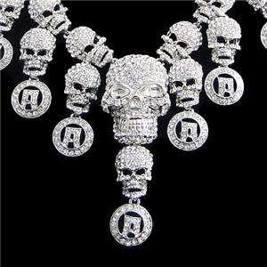 Lots Skull Circle Necklace Earring Set Swarovski Crystal Halloween