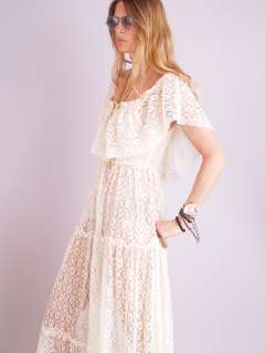 Vtg 70s SHEER LACE Cutout Floral ANGEL SLV Scallop Hippie WEDDING Maxi