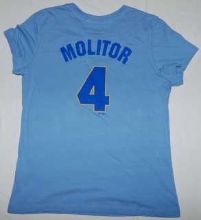 Womens Brewers Paul Molitor Ladies Jersey T Shirt LRG.