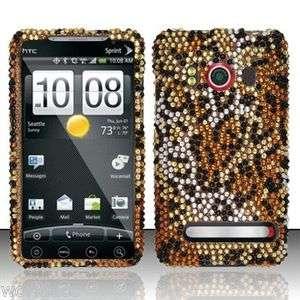 HTC EVO 4G Sprint Hard Case Snap On Phone Cover Golden Cheetah Bling Z