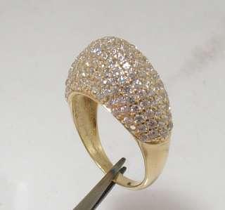 Bold Technibond Domed Clear CZ Ring Silver  Sz 8