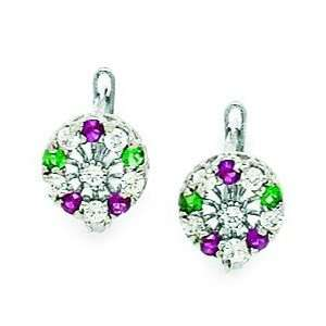 14k White Gold Green and Red CZ Flower Leverback Earrings