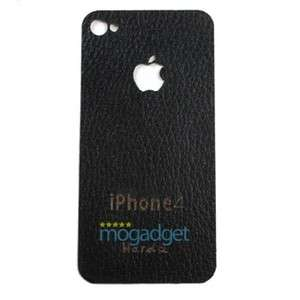 100% Genuine Black Leather Back Sticker for iPhone 4 4G