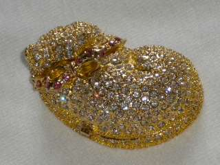 Lazy Cat* Gold Swarovski Crystals Jewelry Trinket Box