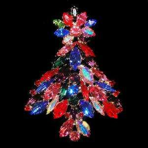Christmas Tree Brooch Pin Multi Swarovski Crystal Flower