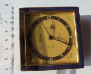 gold plated enamelled alarm table desk clock Russian market
