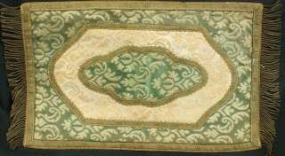 VINTAGE FRENCH TABLE RUNNER DOILY FADED GREEN CREAM GOLD PATTERNED