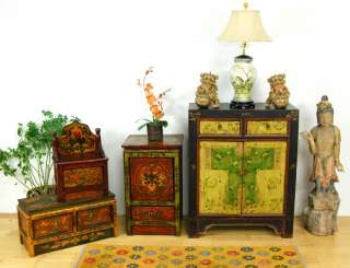 TIBETAN ALTAR DISPLAY STAND Sm Side Cabinet Bench 27