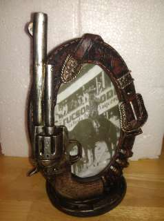 Picture Frame w Gun Belt and Bullets 4x6 NEW Antique Look Great Gift