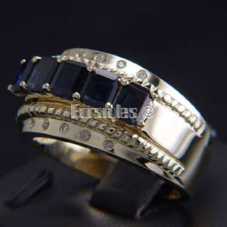 New Sapphires Diamonds 14k Solid Gold Mens Ring r00228