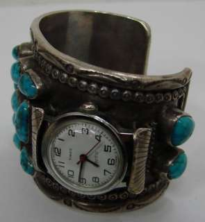 Lee NAVAJO Turquoise Sterling Silver Bracelet Watch Band Cuff 102.3g