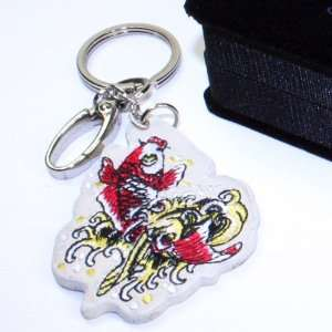 Ed Hardy Koi Leather Keychain Half Sized: Home & Kitchen