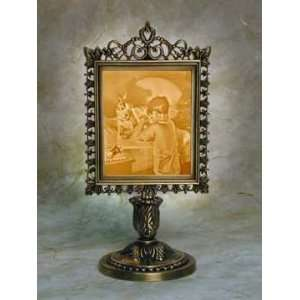 Bed Time Prayer Lithophane Victorian Stand Antique Brass