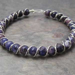 Dark Lepidolite Beaded Sterling Silver Wire Wrapped Bracelet